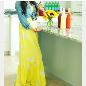 Parker yellow silk maxi, xs